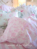 PINK TOILE ROSES ON WHITE SHEET SET SHABBY COTTAGE CHIC TWIN