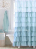 SHABBY BELLA BLUE COTTAGE CHIC RUFFLE SHOWER CURTAIN