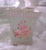 SHABBY BEACH COTTAGE BLUE PINK ROSES TIN BASKET CAN CHIC