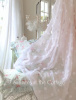DARLING WHITE CHENILLE POPS ELEGANT SHEER SHOWER CURTAIN