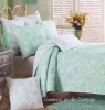 MINT GREEN SEA GLASS PAISLEY FLOWERS SHABBY COTTAGE BEACH CHIC TWIN QUILT SET