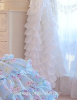 SET OF 2 SHABBY DREAMY WHITE CHIC PETTICOAT RUFFLE CURTAINS DRAPE PANELS