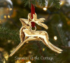 VINTAGE POTTERY BARN GOLD BRONZE REINDEER CHRISTMAS TREE ORNAMENT