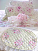 RACHEL ASHWELL SHABBY CHIC PINK ROSES PLACE MATS OVEN MITTS