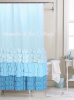 SHADES OF AQUA BLUE TURQUOISE TEAL RUFFLES SHOWER CURTAIN