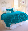 3 PIECE FULL / QUEEN AQUA TEAL TURQUOISE RUFFLED DUVET COMFORTER COVER & PILLOW SHAMS